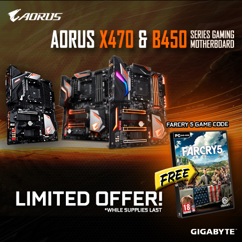 Come Back Promotion -  Buy Aorus X470 or B450 Series Gaming Motherboard and get a free Far Cry 5 Game code