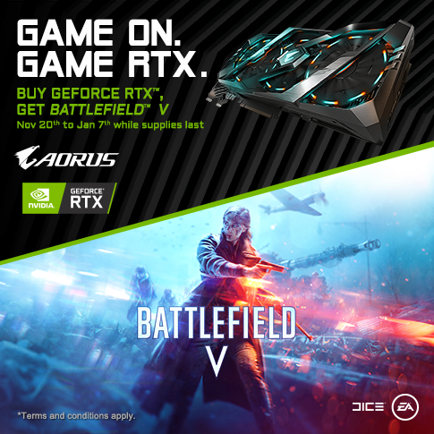 Buy Selected GIGABYTE RTX Series Graphics Card and Get A Code for Battlefield V